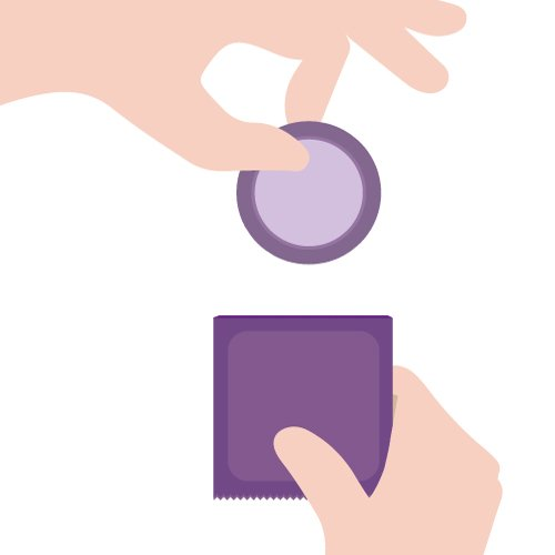 Passo 1 para colocação do preservativo